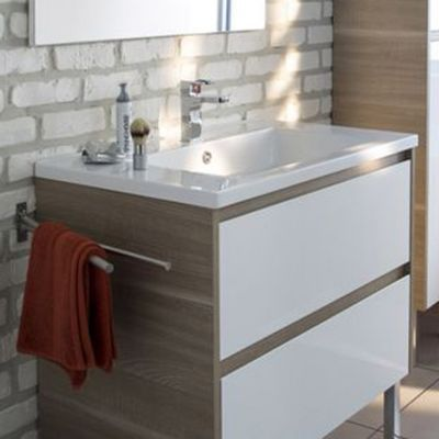 Plan vasque Oreti - Matière : résine - Dimensions : l. 80 x P. 50 cm - Épaisseur : 30 mm - Coloris : Blanc -