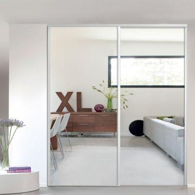 Porte de placard coulissante miroir blanc Form Valla 92,2 x 245,6 cm ...
