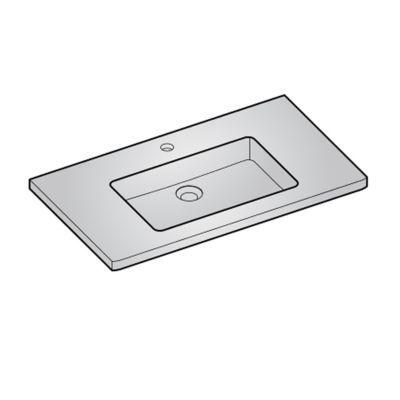 Plan vasque résine blanc COOKE & LEWIS Meltem 80 cm