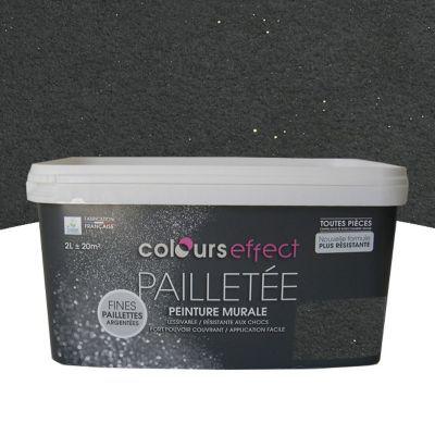 Peinture  Effet Paillettes Colours Graphite Mat Paillet L  Castorama