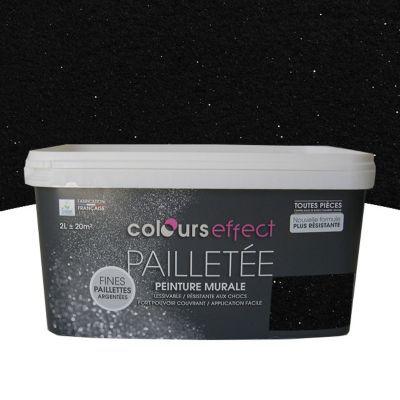 Peinture  Effet Paillettes Colours Noir Mat Paillet L  Castorama