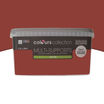 peinture multi supports colours collection rouge brique satin 2 5 l castorama. Black Bedroom Furniture Sets. Home Design Ideas