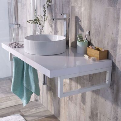 plan de toilette blanc cooke lewis cavado 90 cm castorama. Black Bedroom Furniture Sets. Home Design Ideas