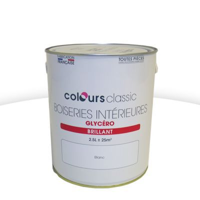 Peinture Glycéro Boiseries COLOURS Classic Blanc Brillant 2,5L   Castorama