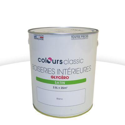 Peinture Glycro Boiseries Colours Classic Blanc Satin L  Castorama