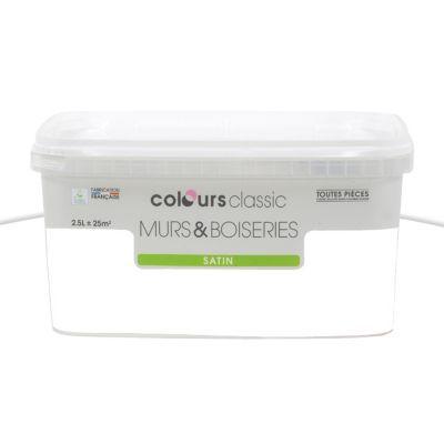 Peinture Murs Et Boiseries Colours Classic Blanc Satin L  Castorama