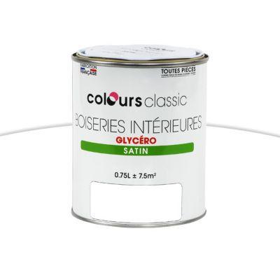Peinture Glycéro Boiseries Intérieures COLOURS Classic Blanc Satin 0,75L    Castorama