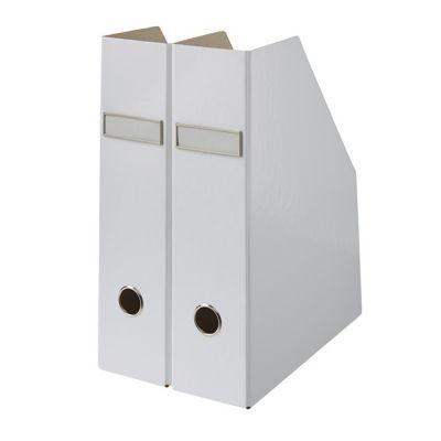 2 range revues en carton manhattan coloris blanc castorama. Black Bedroom Furniture Sets. Home Design Ideas