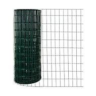Grillage en rouleau soudé vert 100 x 50 mm, L.20 x h.1,50 m