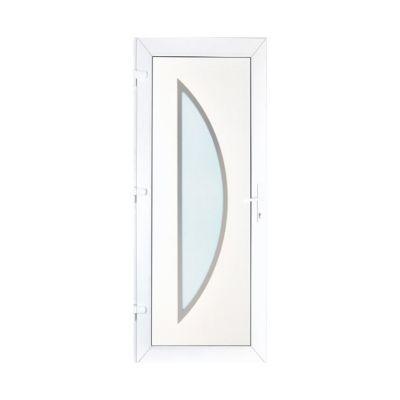 Porte d'entrée pvc Geom Semisphera blanc 80 x h.215 cm poussant droit