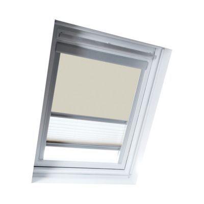 Store Duo Beige SK08. Matière : Tissu 100% polyester, revers thermique. Profils et cadre en aluminium anodisé. Store intérieur 2 en 1, occultant et plissé tamisant. Blocage à niveau. Dimensions : l.114 x h.140 cm. Coloris : Beige et blanc. Compatible avec