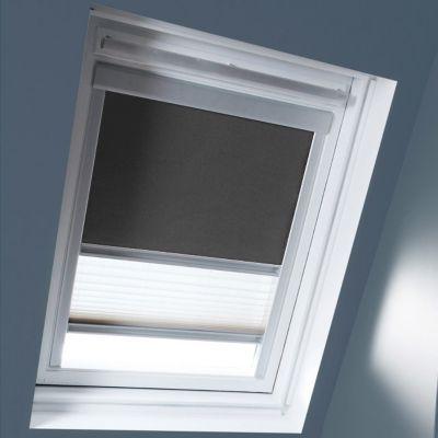 Store Duo Gris anthracite M04. Matière : Tissu 100% polyester, revers thermique. Profils et cadre en aluminium anodisé. Store intérieur 2 en 1, occultant et plissé tamisant. Blocage à niveau. Dimensions : l.78 x h.98 cm. Coloris : Gris anthracite et Blanc