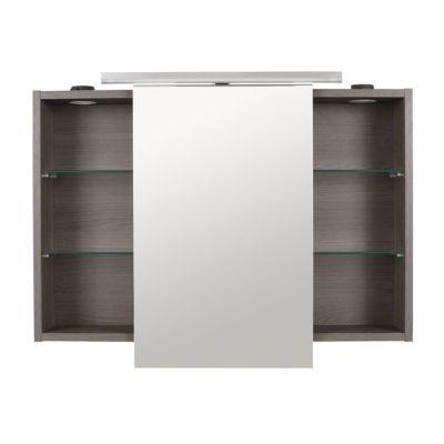 Armoire miroir lumineuse décor chêne fumé Cooke & Lewis Calao 90 cm