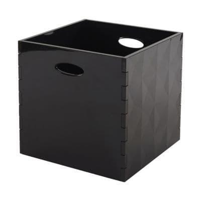 bo te de rangement carr e en plastique mixxit coloris noir castorama. Black Bedroom Furniture Sets. Home Design Ideas