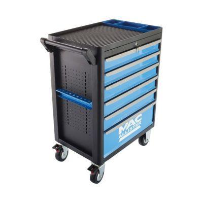 La servante à outils Mac Allister est l'alliée idéale pour accéder plus facilement à votre matériel de bricolage. Avec ses 6 tiroirs à roulement à billes et son porte-outil latéral, elle est extrêmement fonctionnelle, tandis que ses roues mobiles avec fre