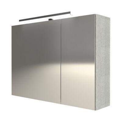 Armoire miroir 2 portes décor chêne clair Cooke & Lewis Calao 90 cm