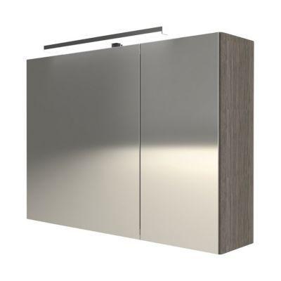 Armoire miroir 2 portes décor chêne fumé Cooke & Lewis Calao 90 cm