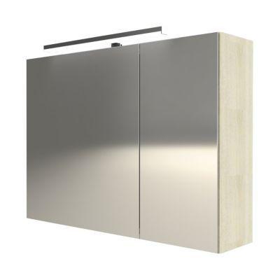 Armoire miroir 2 portes décor chêne naturel Cooke & Lewis Calao 90 cm