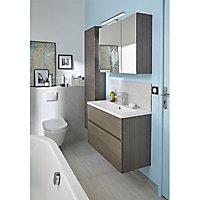 Colonne de salle de bains contre porte décor chêne fumé Cooke & Lewis Calao 45 cm