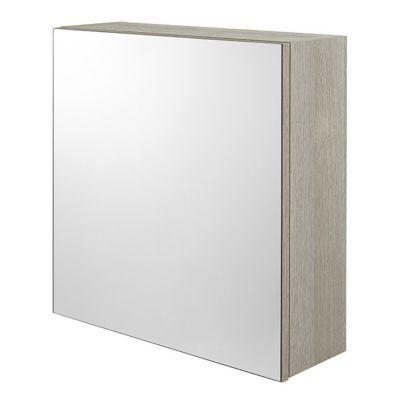 Cube mural de salle de bains porte miroir décor chêne clair Cooke & Lewis Calao 50 cm