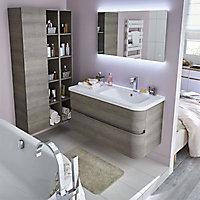 Plan vasque blanc version droite Cooke & Lewis Voluto 108 cm