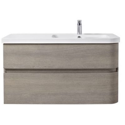 Meuble sous vasque bois grisé version droite 2 tiroirs COOKE & LEWIS Voluto 105 cm