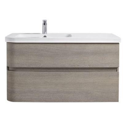 Meuble sous vasque bois grisé version gauche 2 tiroirs COOKE & LEWIS Voluto 105 cm