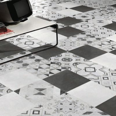 Carrelage Sol Et Mur Blanc Et Noir 20 X 20 Cm Decor Cementine Vendu