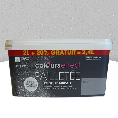 peinture effet paillettes colours craie mat 2l 20 gratuit castorama. Black Bedroom Furniture Sets. Home Design Ideas