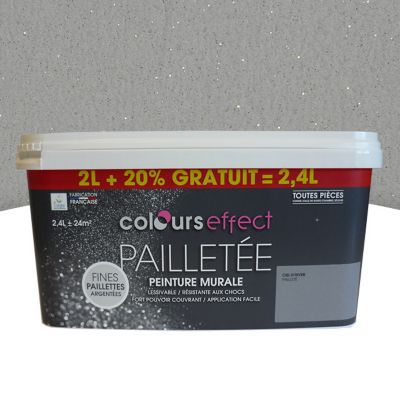 peinture effet paillettes colours voile de lin mat 2l 20 gratuit castorama. Black Bedroom Furniture Sets. Home Design Ideas
