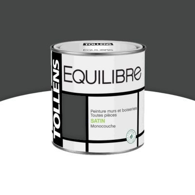 Peinture murs et boiseries Tollens Equilibre gris anthracite satin 0,5L   Castorama