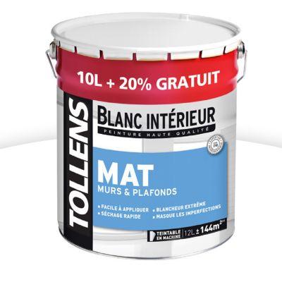 Peinture Murs Et Plafonds TOLLENS Blanc Intérieur Mat 10L + 20% | Castorama.