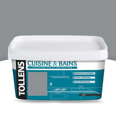 Peinture cuisine et salle de bains Tollens zinc satin 2L   Castorama