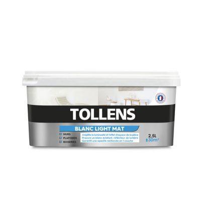 Peinture Tollens Light Murs Plafonds Et Bois Blanc Mat 2 5l