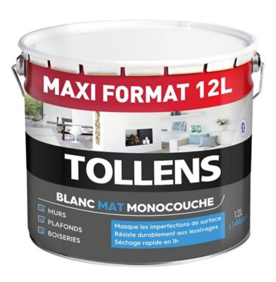 peinture murs plafonds et boiseries tollens monocouche blanc mat 12l castorama. Black Bedroom Furniture Sets. Home Design Ideas