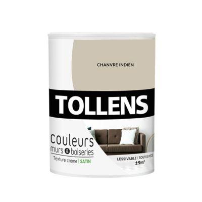 Peinture murs et boiseries Tollens chanvre indien satin 0,75L   Castorama