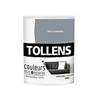 Peinture murs et boiseries Tollens gris tonnerre satin 0,75L