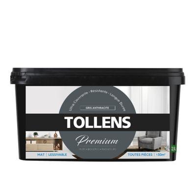 Peinture Tollens premium murs, boiseries et radiateurs gris anthracite mat 2,5L   Castorama