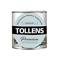 Peinture Tollens premium murs, boiseries et radiateurs céladon clair satin 0,75L