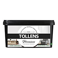 Peinture Tollens premium murs, boiseries et radiateurs blanc satin 2,5L