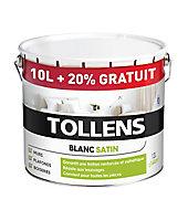 Peinture bicouche murs plafonds boiseries Tollens blanc satin 10L + 20% gratuit