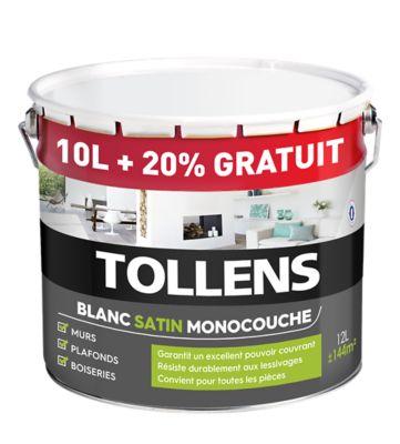 Peinture monocouche murs plafonds boiseries Tollens blanc satin 10L 2L +20% gratuit