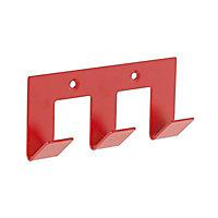 Patère 3 têtes en métal rouge Nissi