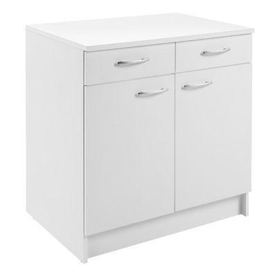 Meuble bas 2 portes 2 tiroirs blanc Primalight 80 cm + plan de travail