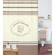 Rideau de douche en textile marron 180 x 200 cm Mosaïque