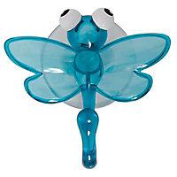Crochet en plastique bleu à ventouse Libellule