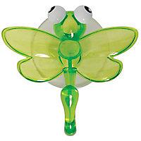 Crochet en plastique vert à ventouse Libellule