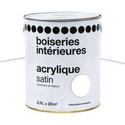 Peinture boiseries intérieures 1ER PRIX A DAMIER Acrylique blanc satin 10L