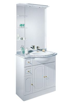Ensemble de salle de bains marbre blanc brillant CASTORAMA ...