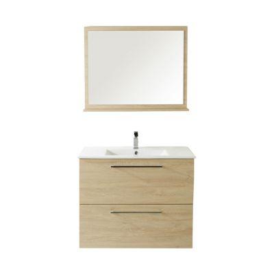 Meuble de salle de bains décor bois naturel 80 cm Noé